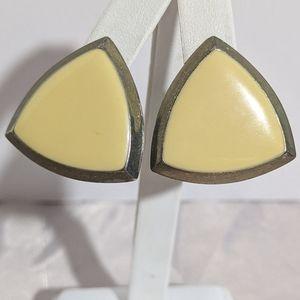 Vintage Gold & Yellow Enamel Pierce Earrings